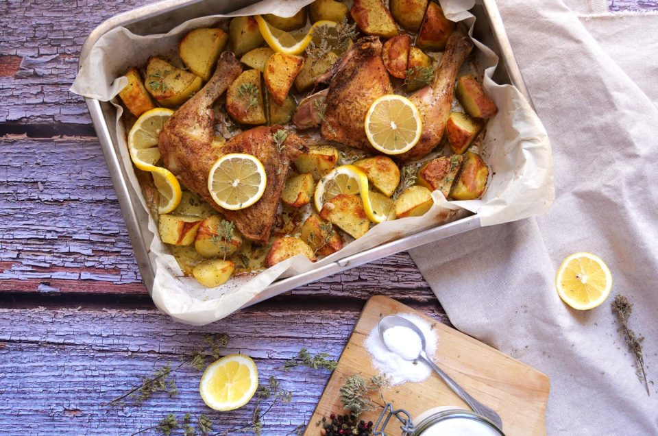 Greek Lemon chicken and potatoes