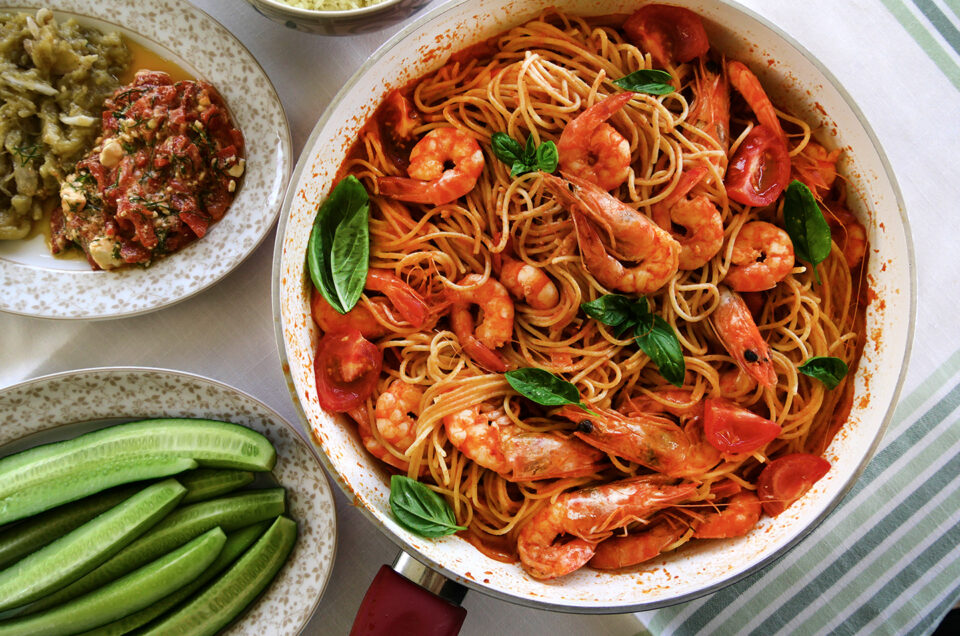 Greek-style shrimp pasta!